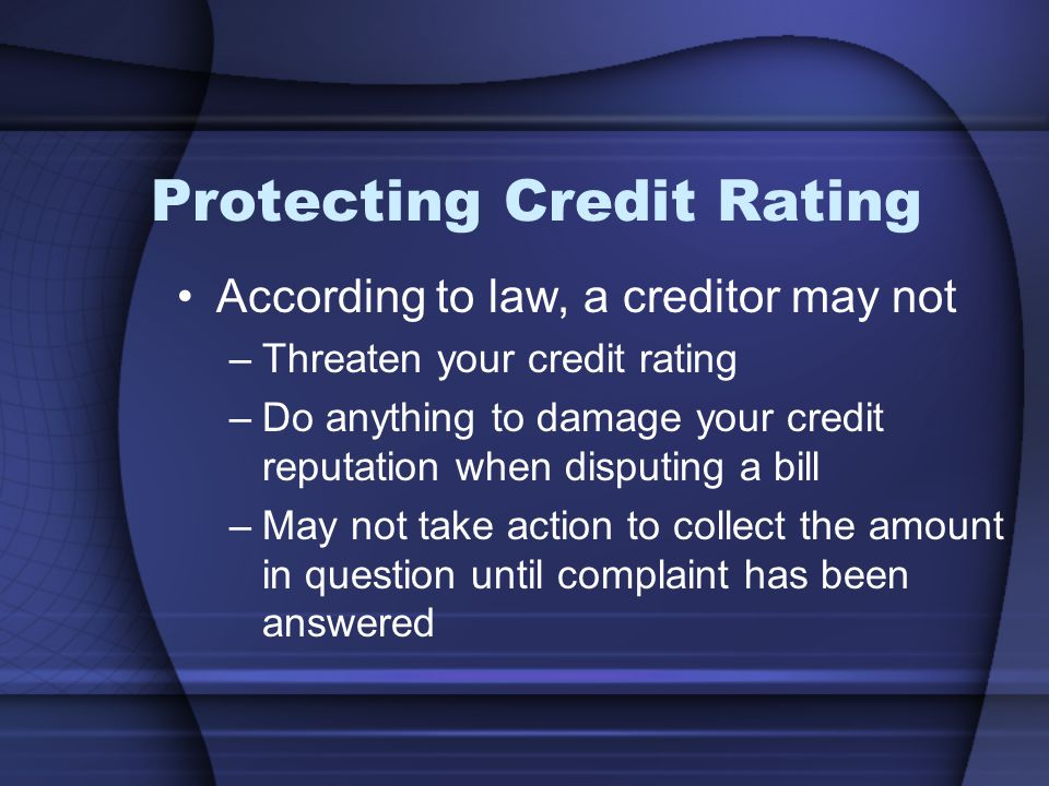 Protecting Credit Rating