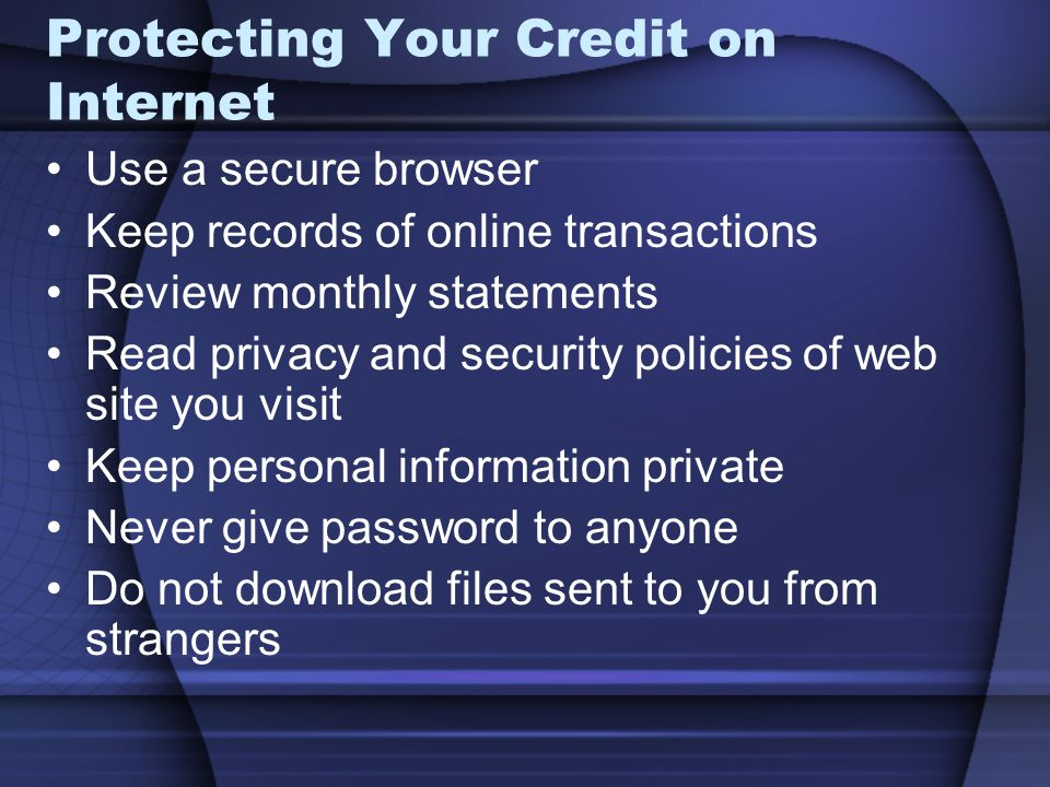 Protecting Your Credit on Internet