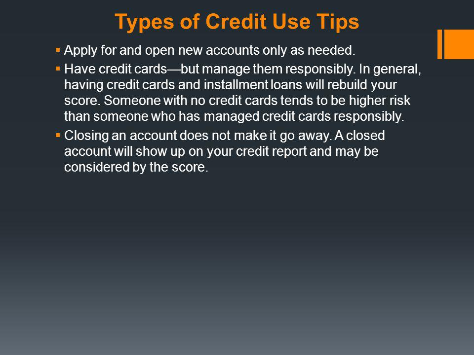 Types of Credit Use Tips