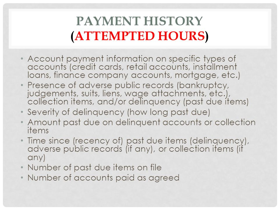Payment history (attempted hours)