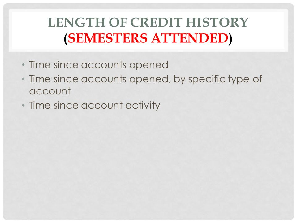 Length of Credit History (semesters attended)