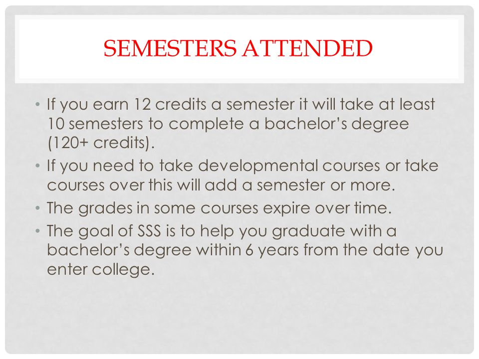 Semesters attended If you earn 12 credits a semester it will take at least 10 semesters to complete a bachelor's degree (120+ credits).