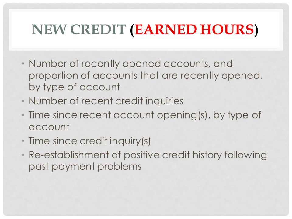 New Credit (earned hours)