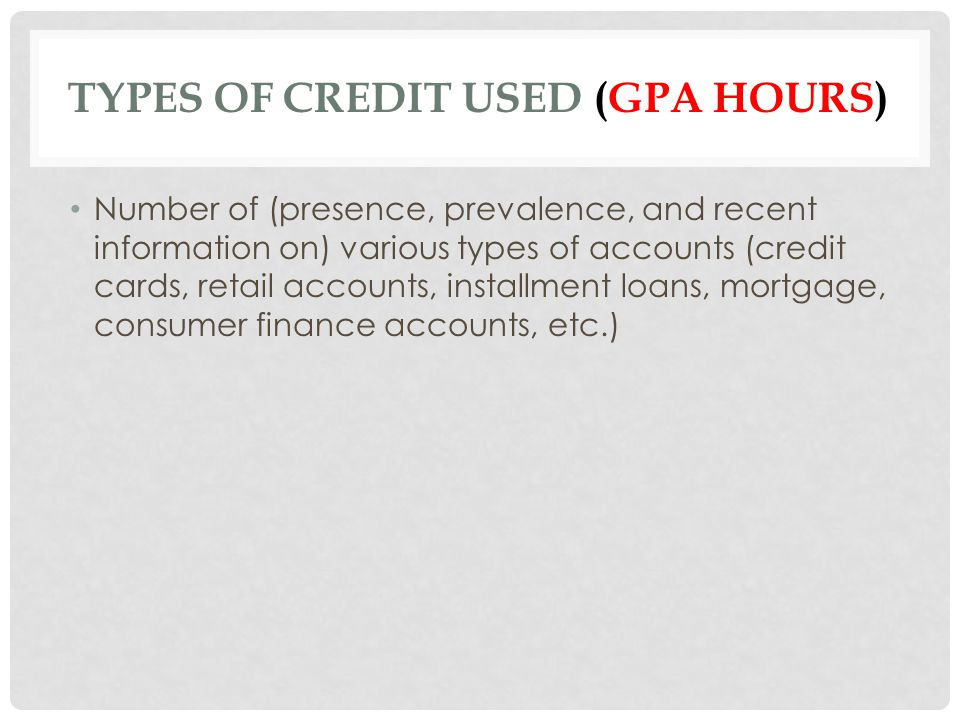 Types of Credit Used (gpa hours)