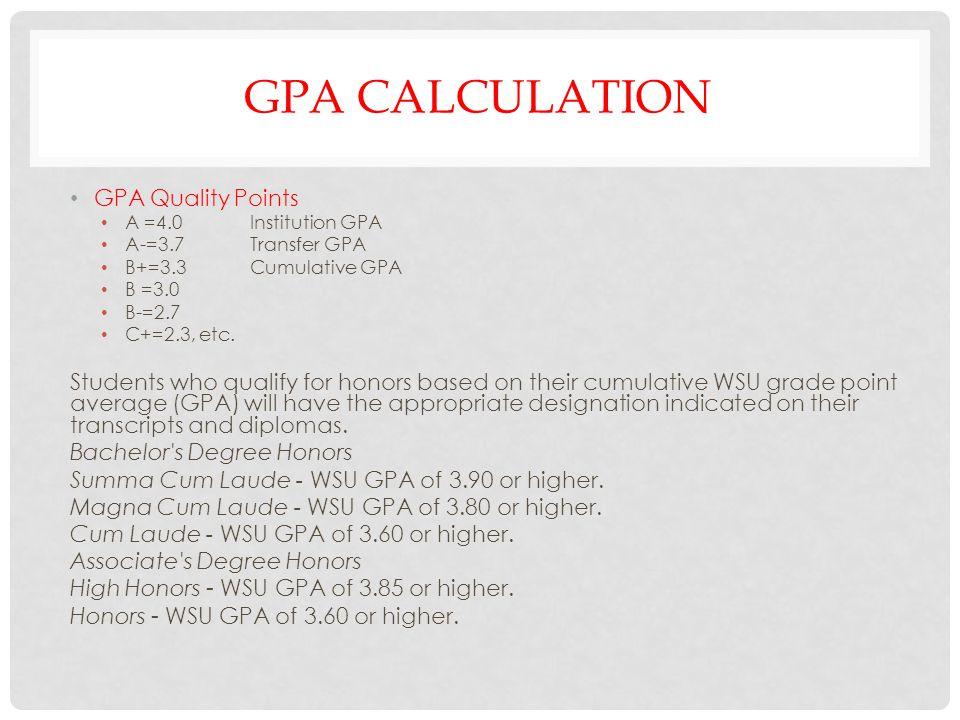 Gpa calculation GPA Quality Points