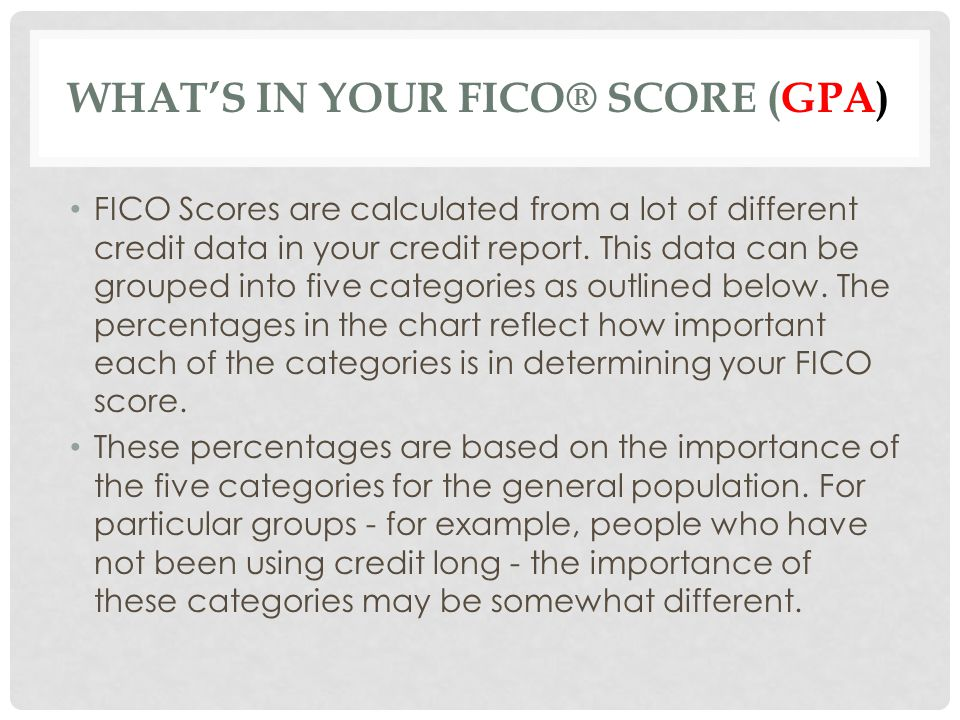 What's in your FICO® score (GPA)