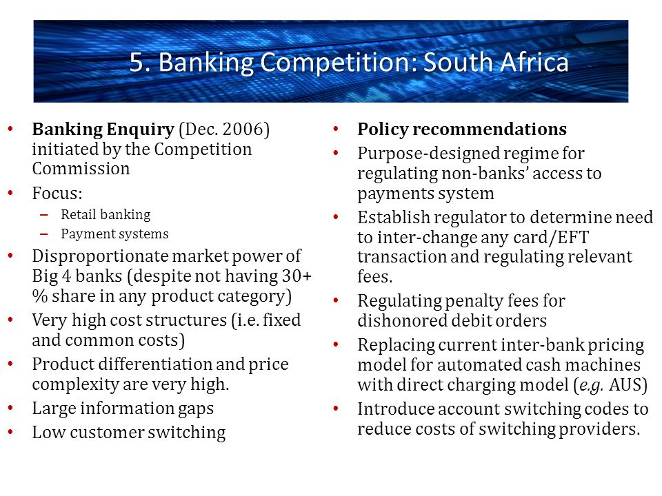 5. Banking Competition: South Africa