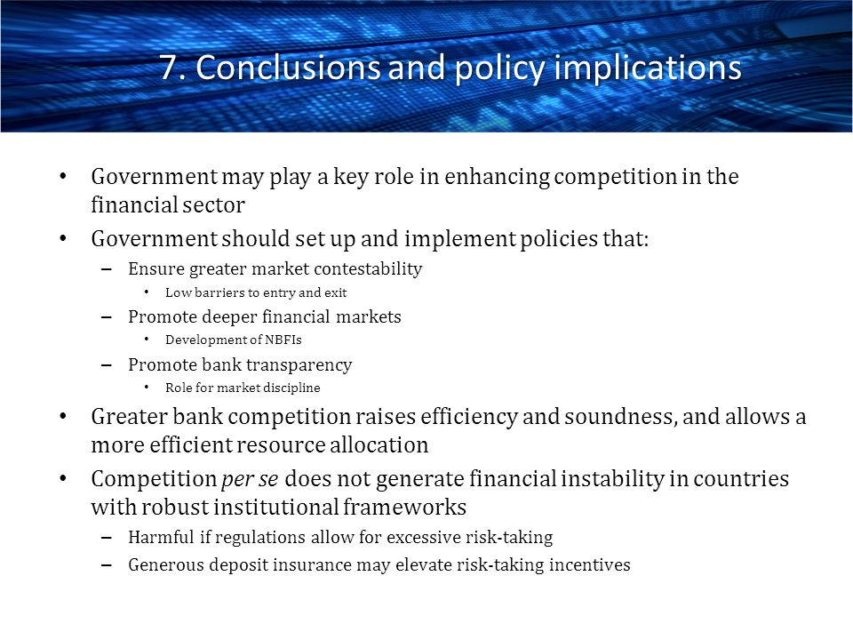 7. Conclusions and policy implications