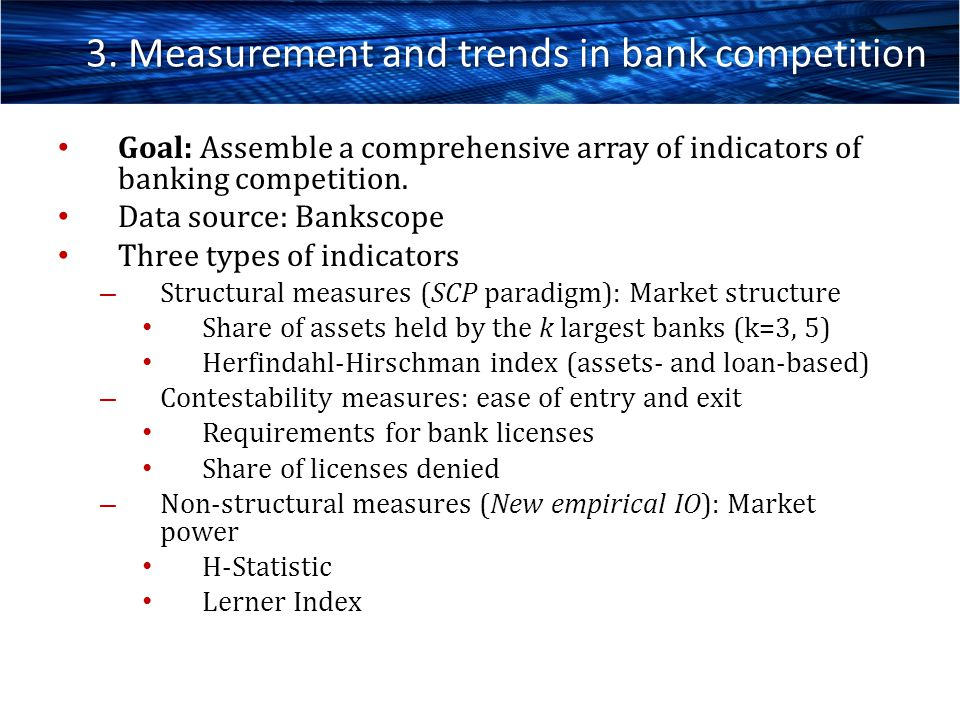 3. Measurement and trends in bank competition