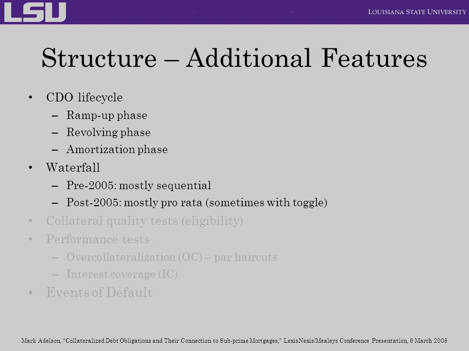 Structure – Additional Features