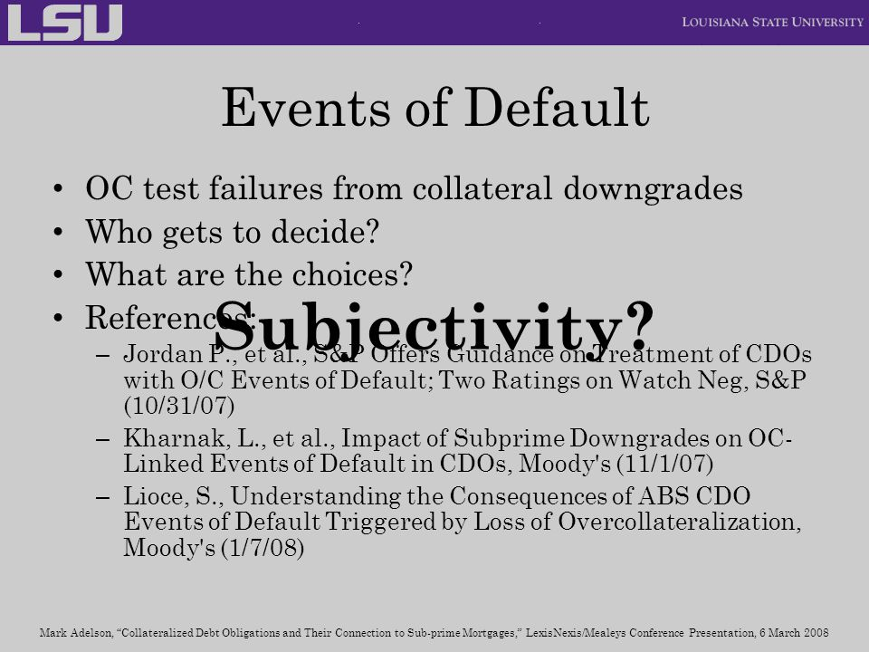 Subjectivity Events of Default