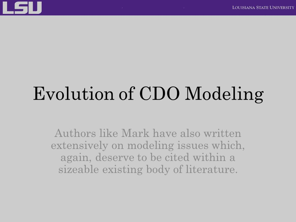 Evolution of CDO Modeling