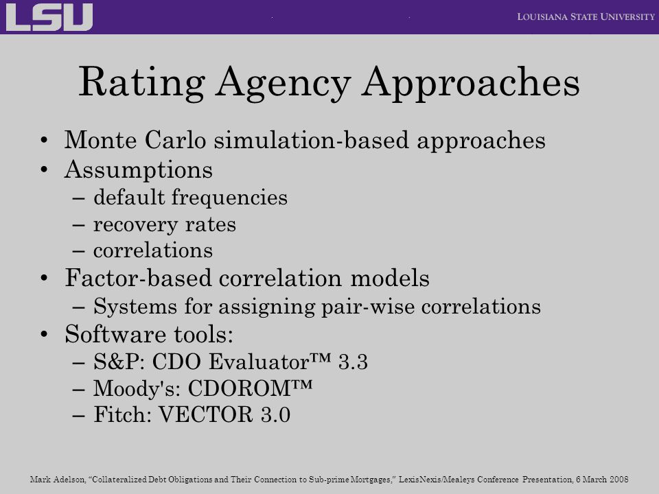 Rating Agency Approaches