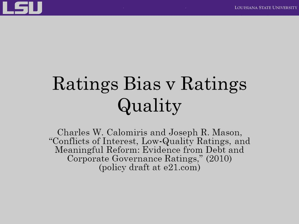 Ratings Bias v Ratings Quality