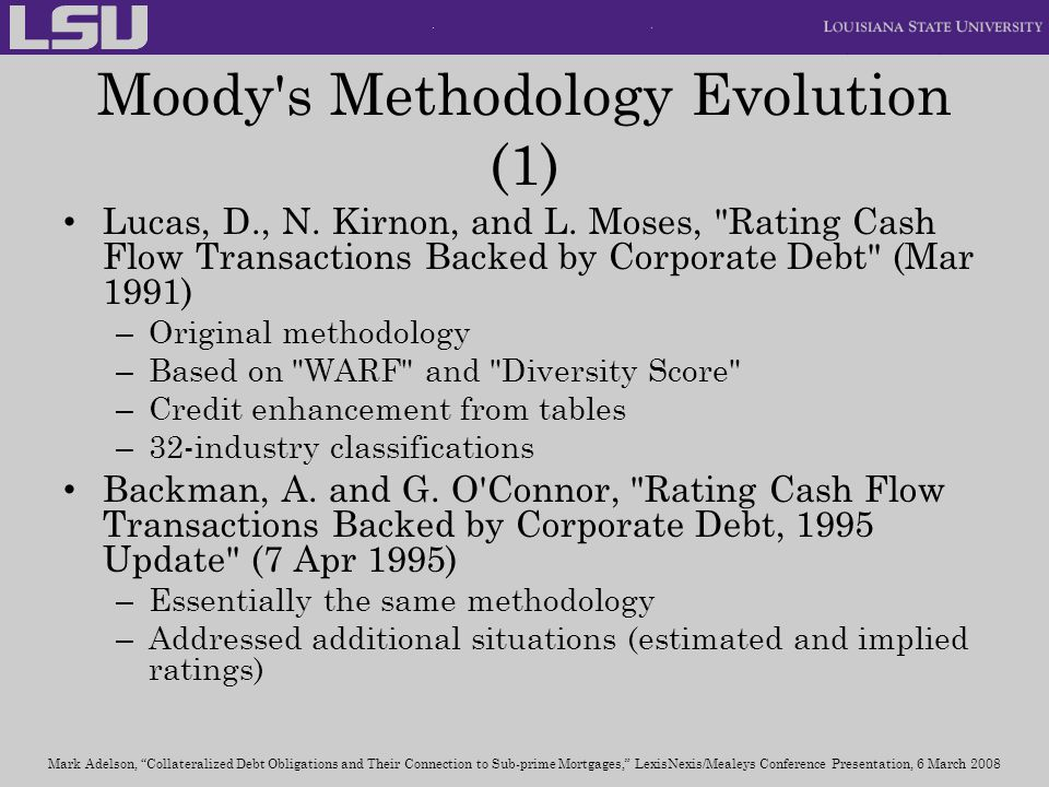 Moody s Methodology Evolution (1)