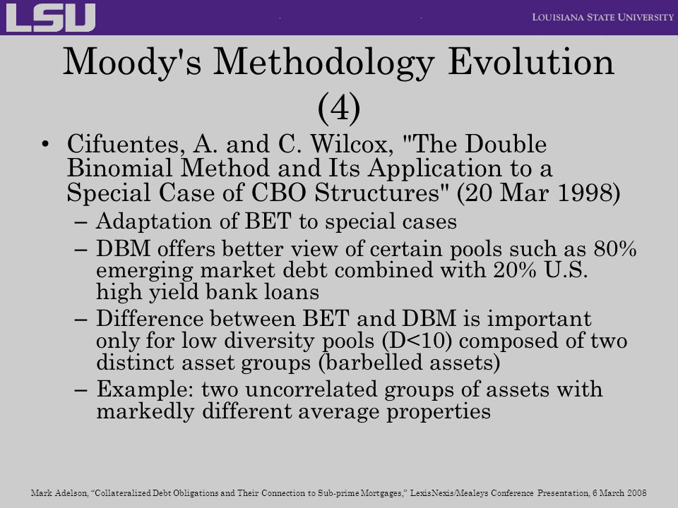 Moody s Methodology Evolution (4)