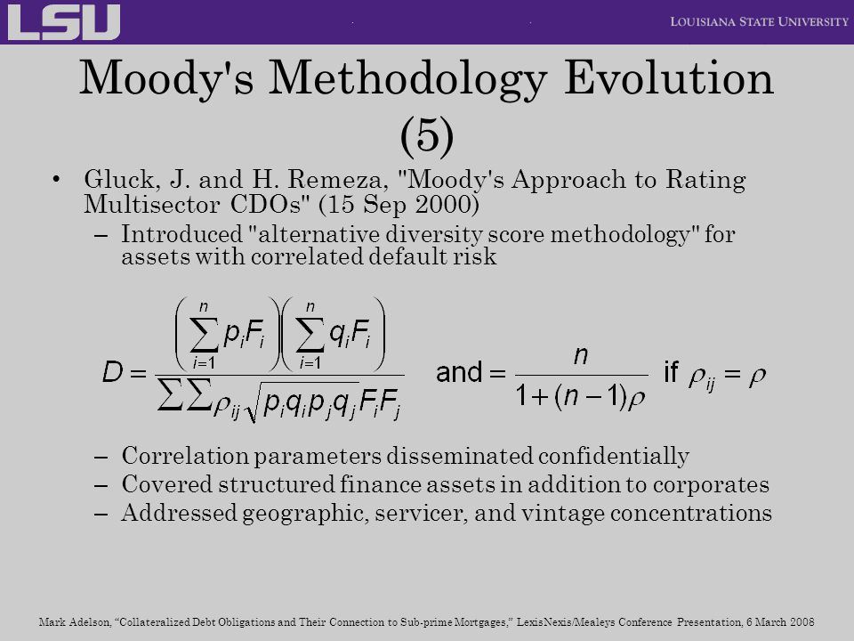 Moody s Methodology Evolution (5)