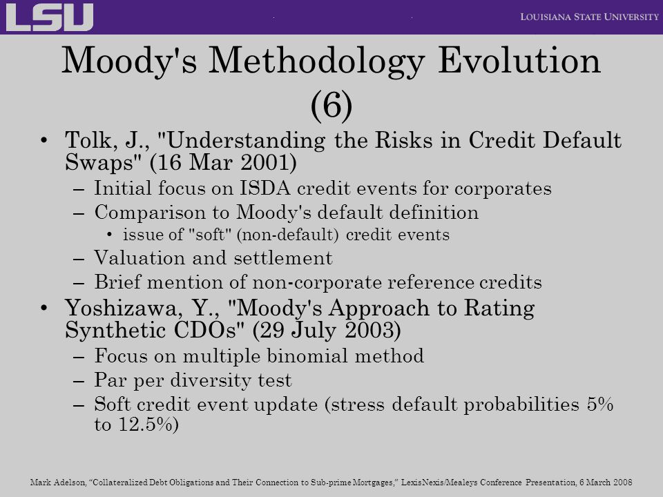 Moody s Methodology Evolution (6)