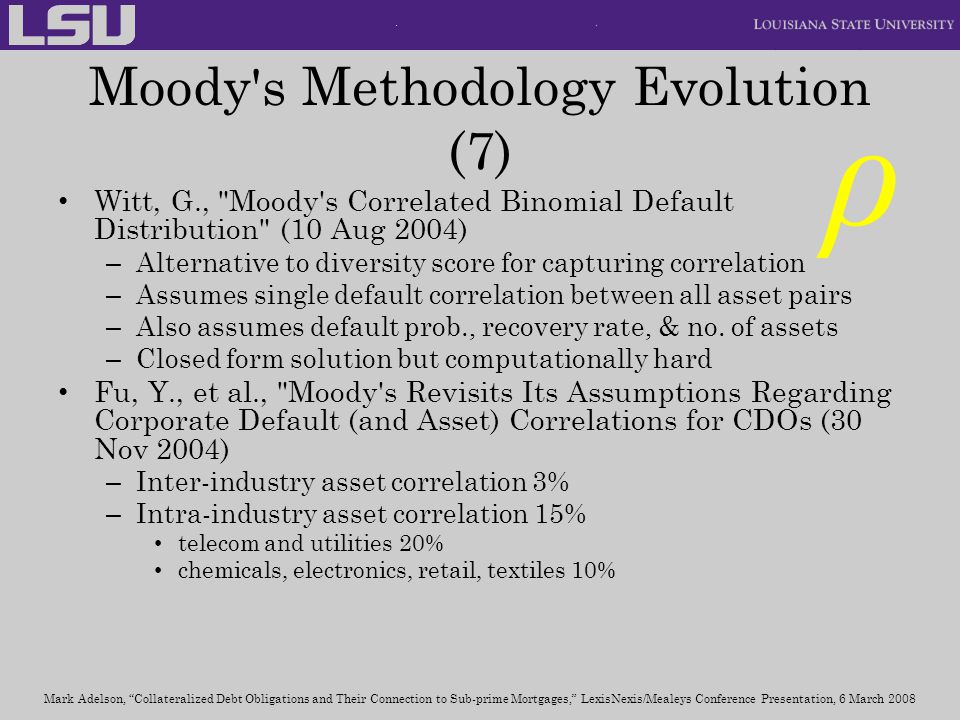 Moody s Methodology Evolution (7)