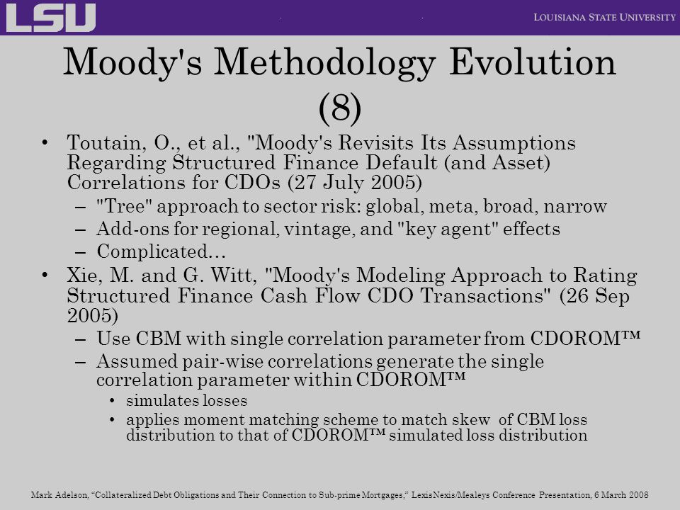 Moody s Methodology Evolution (8)