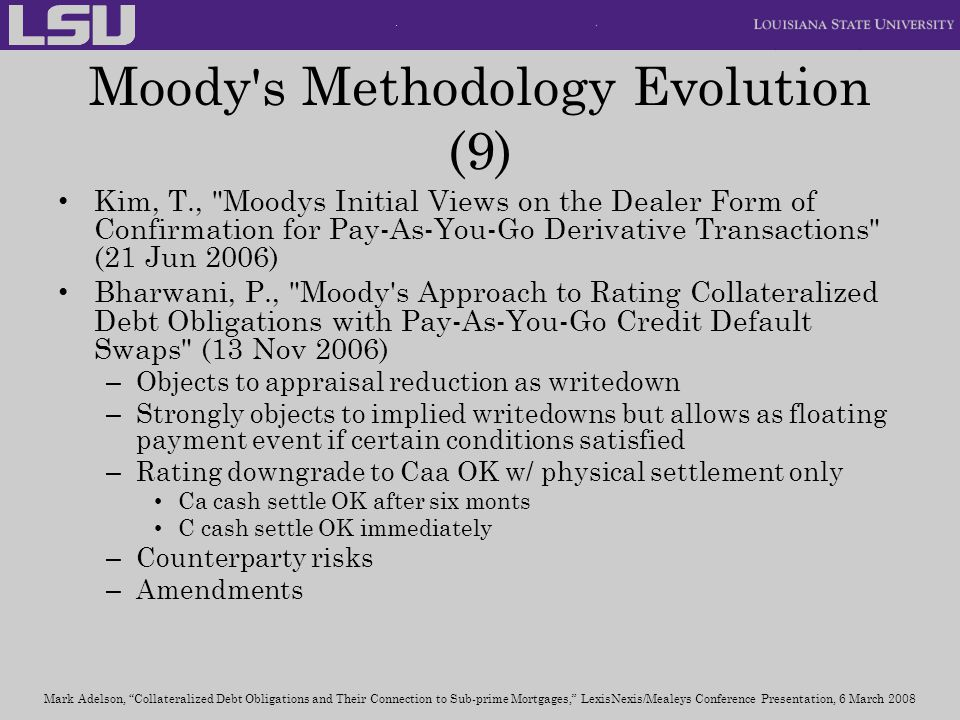 Moody s Methodology Evolution (9)