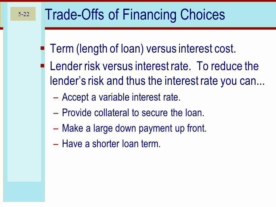 Trade-Offs of Financing Choices