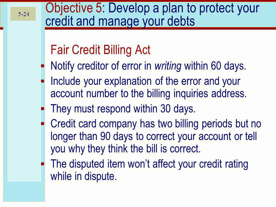 Objective 5: Develop a plan to protect your credit and manage your debts