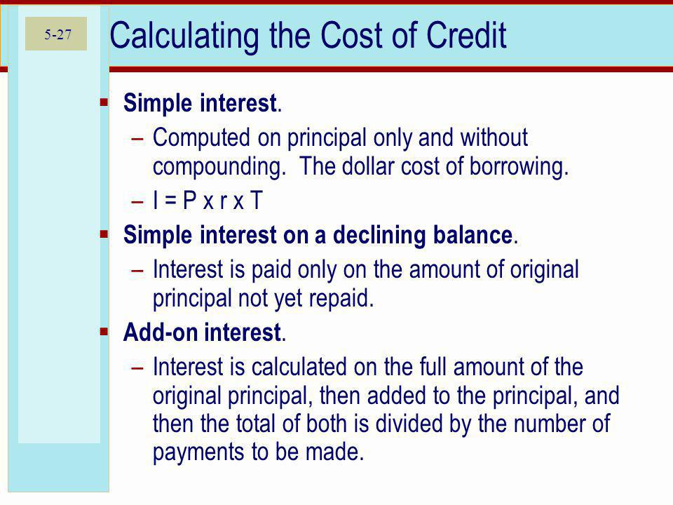 Calculating the Cost of Credit