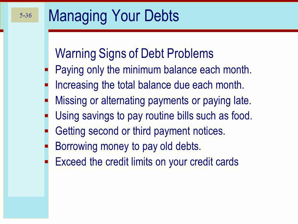 Managing Your Debts Warning Signs of Debt Problems