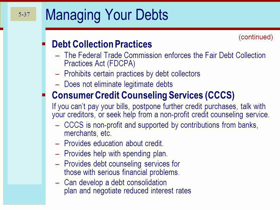 Managing Your Debts Debt Collection Practices