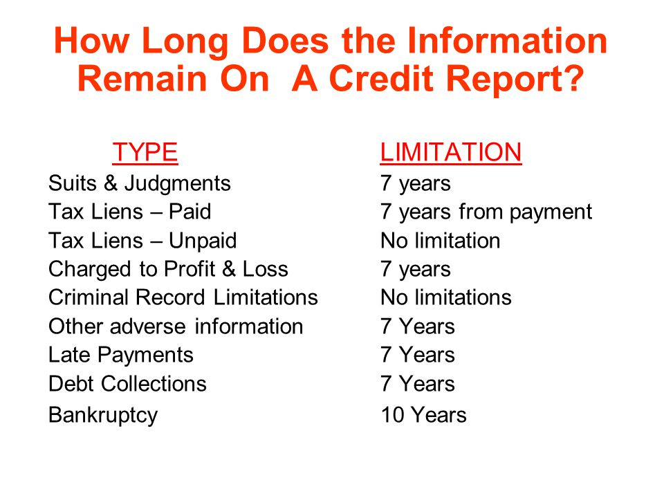 How Long Does the Information Remain On A Credit Report