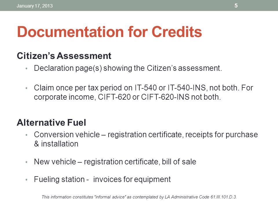 Documentation for Credits