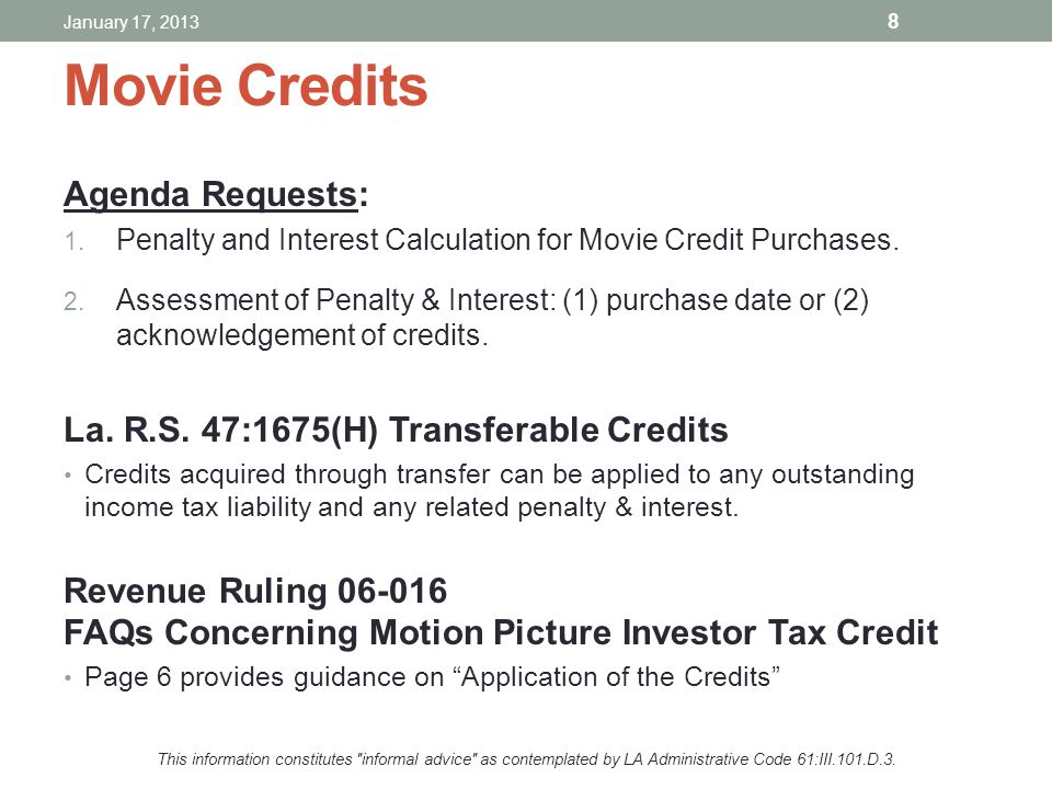 Movie Credits Agenda Requests: