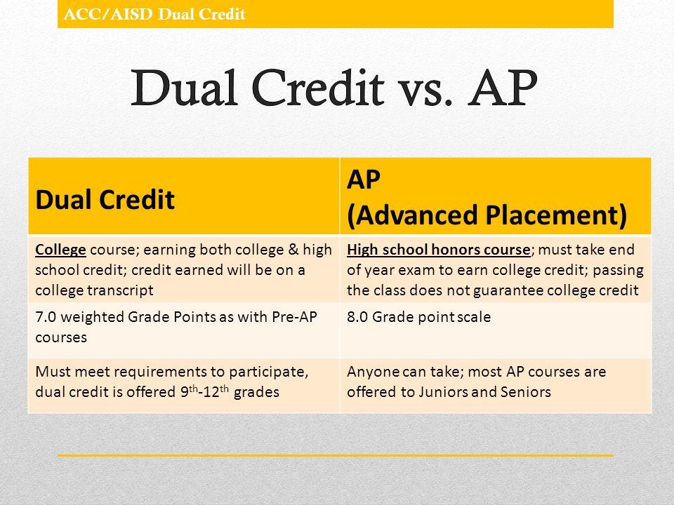 Dual Credit vs. AP AP Dual Credit (Advanced Placement)