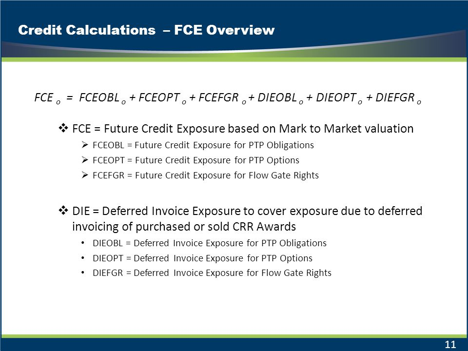 Credit Calculations – FCE Overview