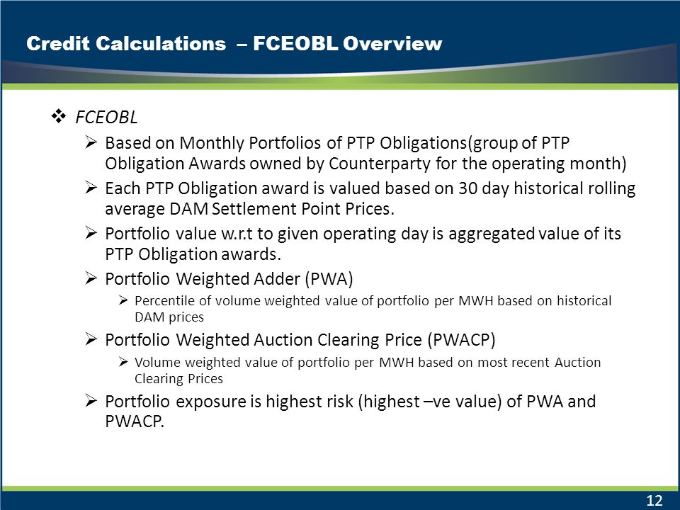Credit Calculations – FCEOBL Overview