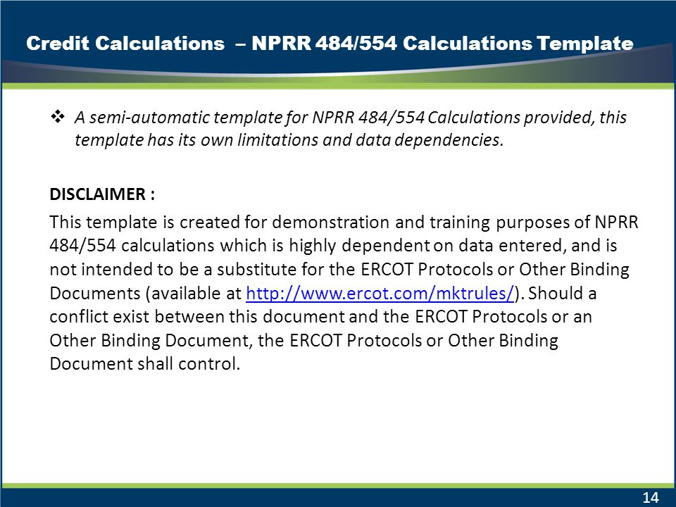 Credit Calculations – NPRR 484/554 Calculations Template