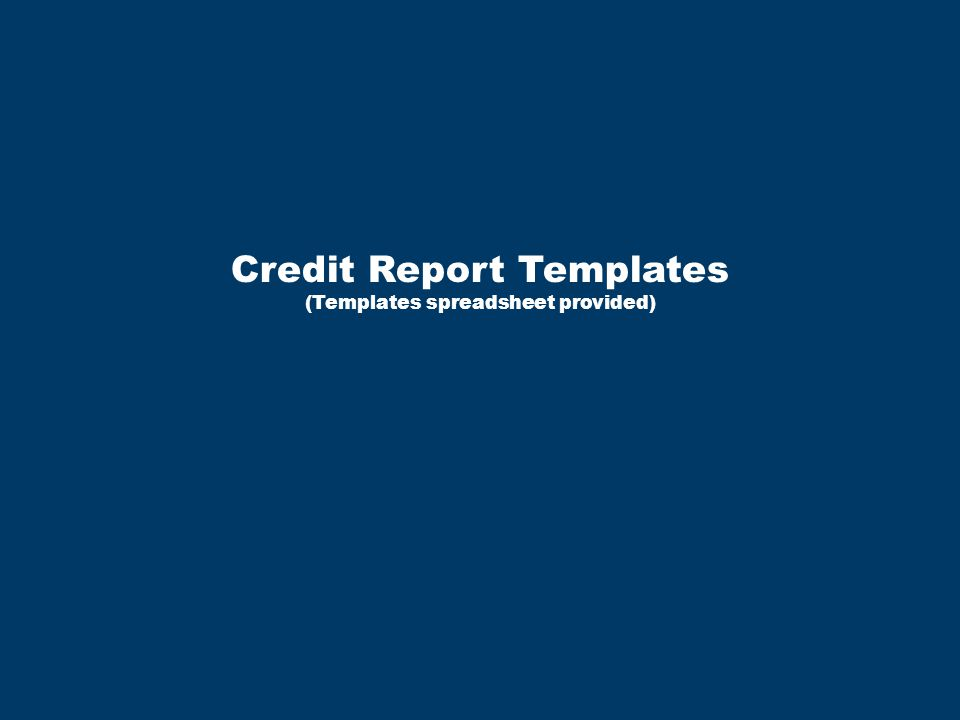 Credit Report Templates (Templates spreadsheet provided)