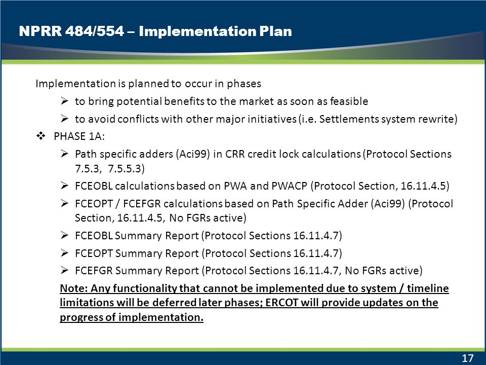 NPRR 484/554 – Implementation Plan