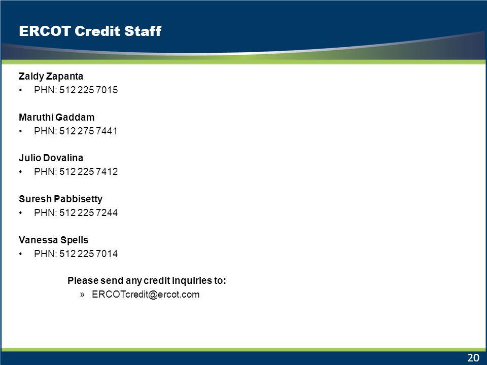 ERCOT Credit Staff Zaldy Zapanta PHN: 512 225 7015 Maruthi Gaddam