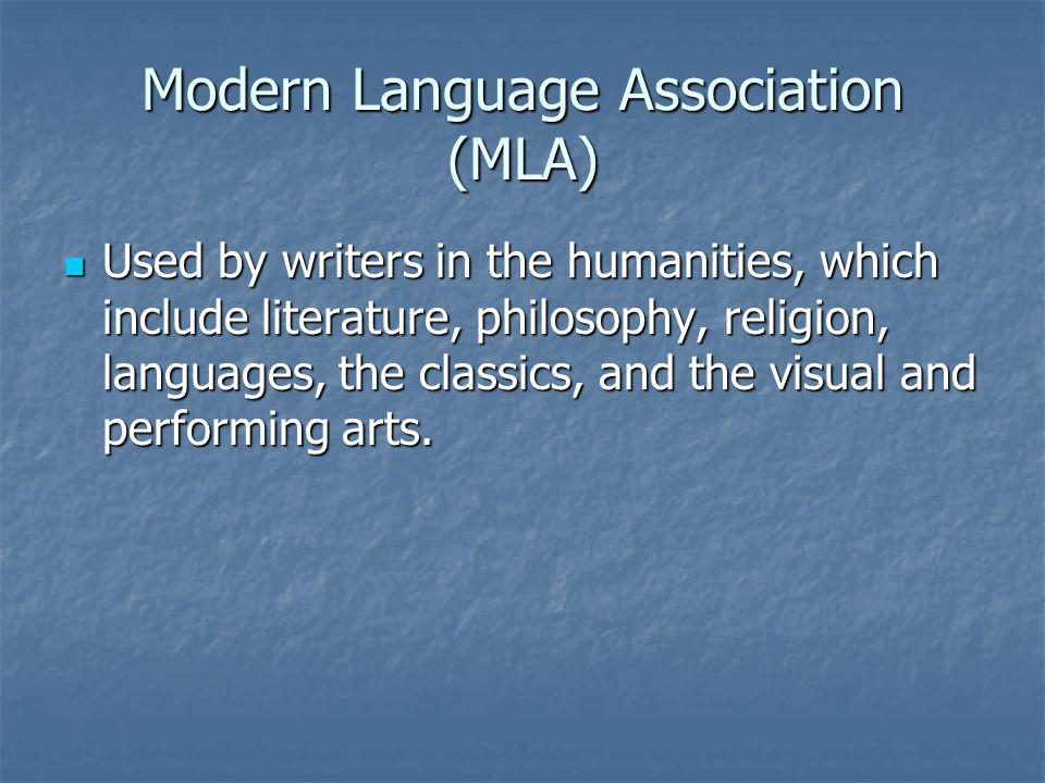 Modern Language Association (MLA)