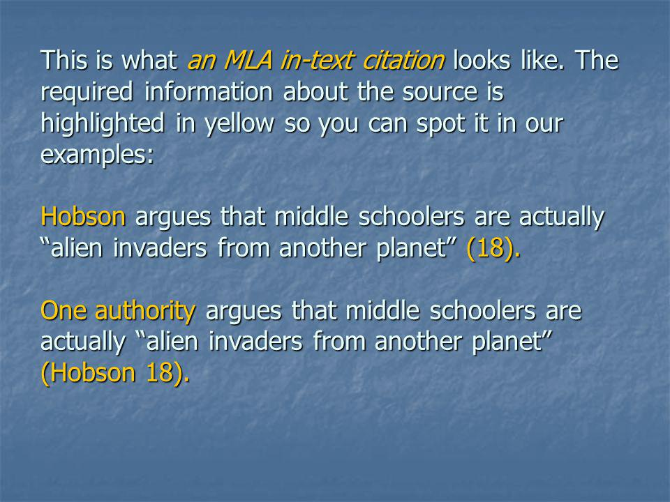 This is what an MLA in-text citation looks like