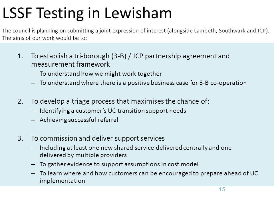 LSSF Testing in Lewisham