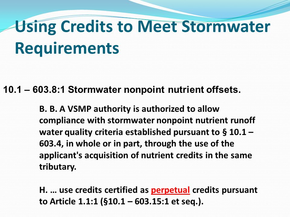 Using Credits to Meet Stormwater Requirements