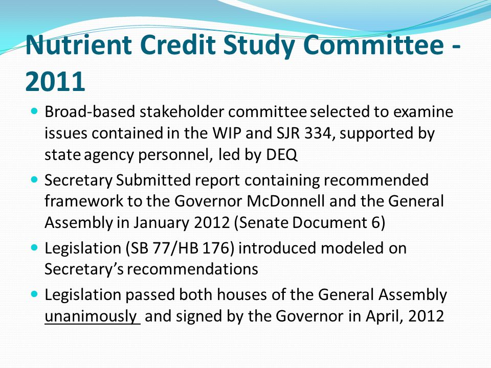 Nutrient Credit Study Committee - 2011
