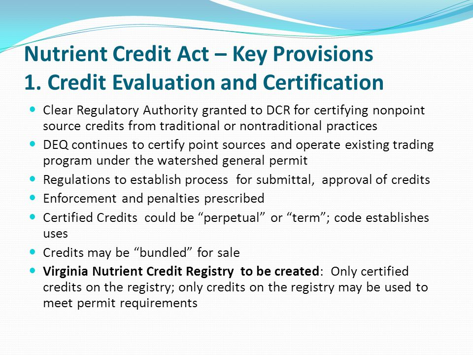 Nutrient Credit Act – Key Provisions 1