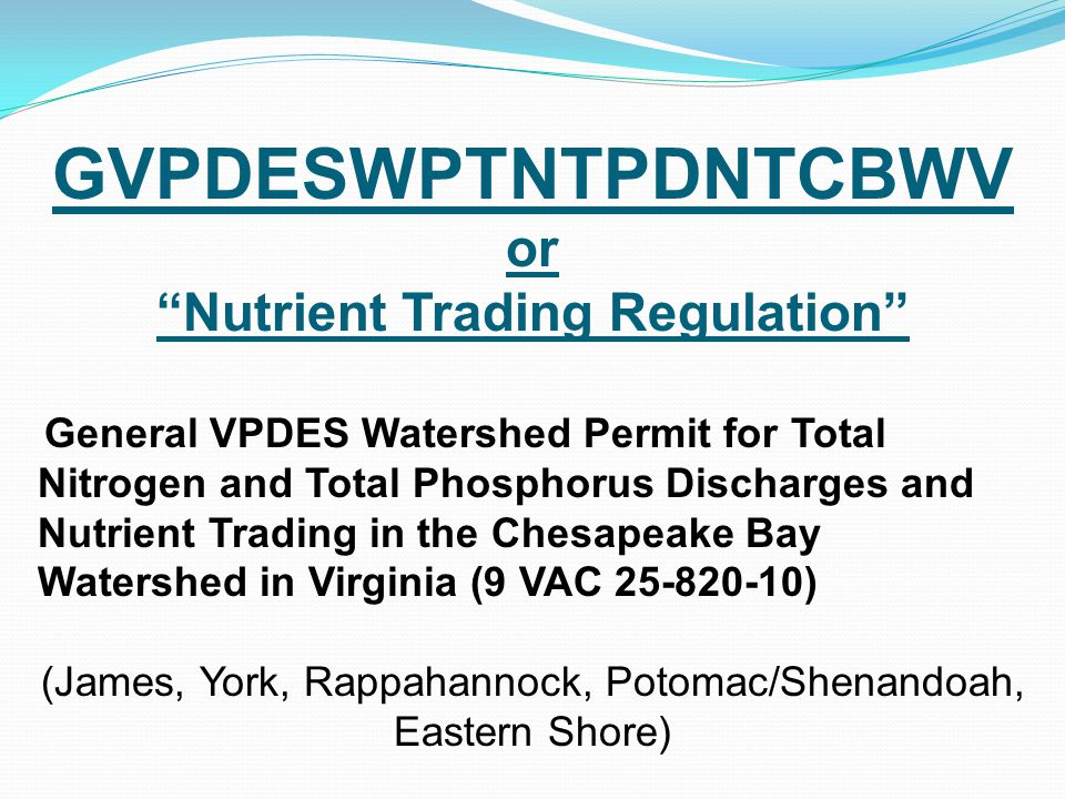 Nutrient Trading Regulation
