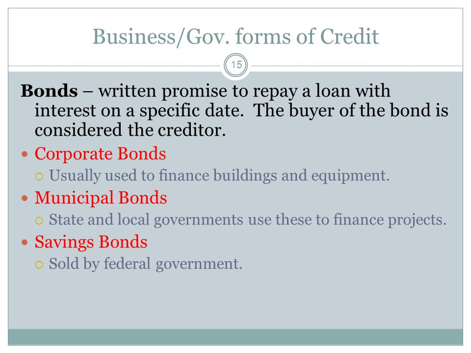 Business/Gov. forms of Credit