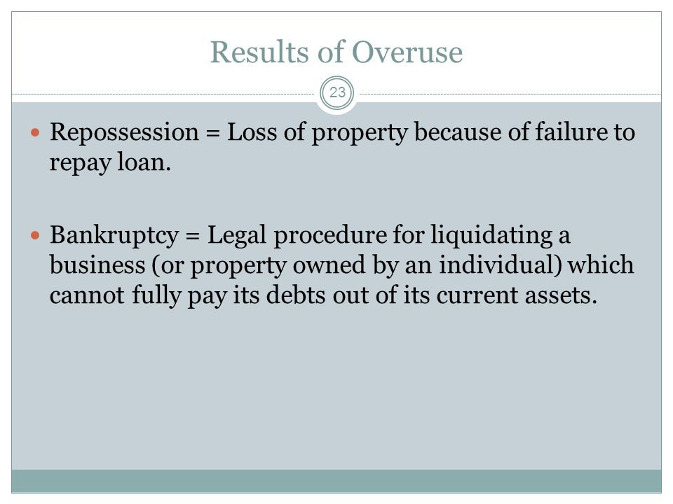Results of Overuse Repossession = Loss of property because of failure to repay loan.