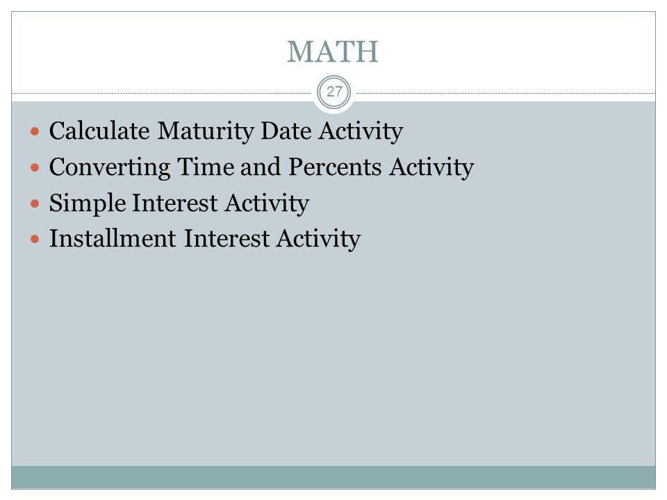 MATH Calculate Maturity Date Activity